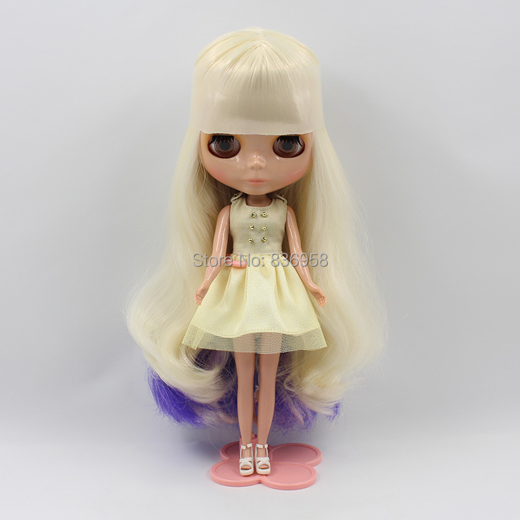 260bl 7008 Purple Curly Long Hair No Bangs Center Cut Dark Skin Tan Skin Nude Doll Suitable For Change Diy Dolls