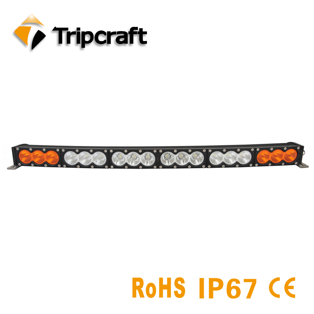 TRIPCRAFT White Amber Curved light 32.6Inch 180w off road led light bar Driving Lamps Single Row for Truck SUV 4x4 Pickup Car niko 50pcs chrome single coil pickup screws