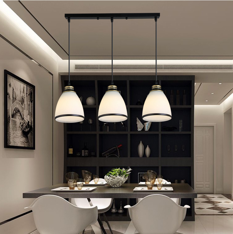 Modern Minimalist Set of 3 Kitchen Island Dining Room Glass Pendant Light (8)