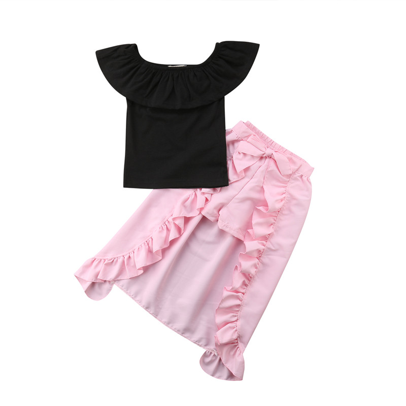 2018 Fashion Children Girls Summer Clothes Off shoulder Black Blouse Tops+Shorts Ruffles Skirt Outfit Kids Three Pieces Clothing