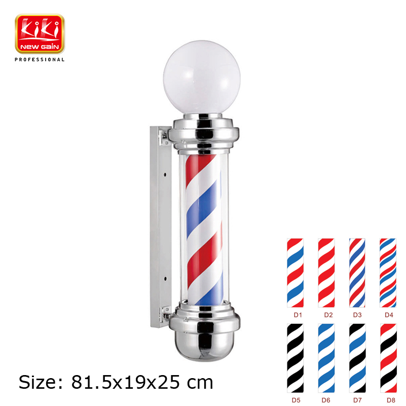 KIKI.338D size .Salon Equipment.Barber Sign pole.Free Shipping AUTOMATIC ROTATION BARBER SIGN POLE WITH LAMP