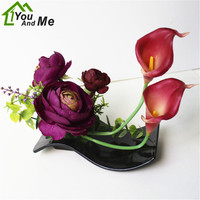 Creative Art Craft Artificial Silk Calla Lily + Peony Flower Bonsai Black Plastic Potted Set Wedding Party Home Decoration