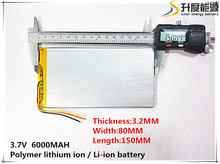 1PCS free shipping 3.7V 6000mAH(Real 5900mAh) Li-ion battery for CHUWI V88, V971,Pipo M9 Tablet PC, 3.2*82*150mm