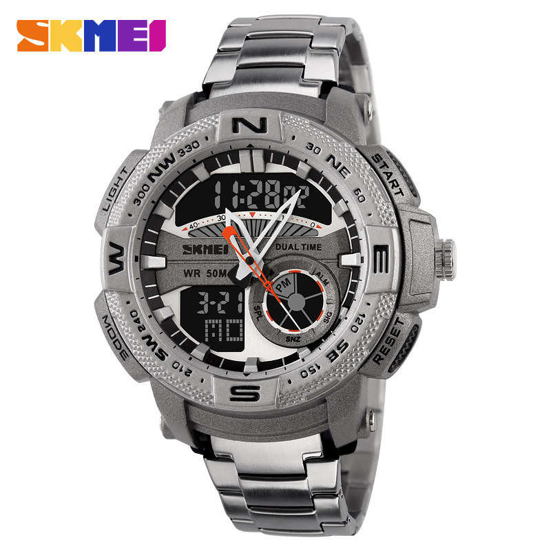 SKMEI Top Brand Men Double Time Quartz LED Digital Watch Sports Watches Relogio Masculino Stainless Steel Wristwatches Male weide popular brand new fashion digital led watch men waterproof sport watches man white dial stainless steel relogio masculino