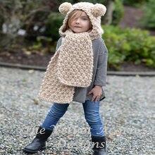 Gorros Unisex bufanda Set Animal sombreros para niños invierno sombrero niño  mano Crochet Kawaii orejas de gato de tapa las niña. 8a43d354496