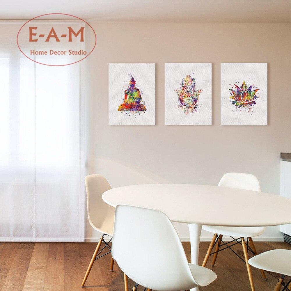 acuarela buda loto pintura canvas art print poster pared cuadros para la sala dormitorio decoracin sin