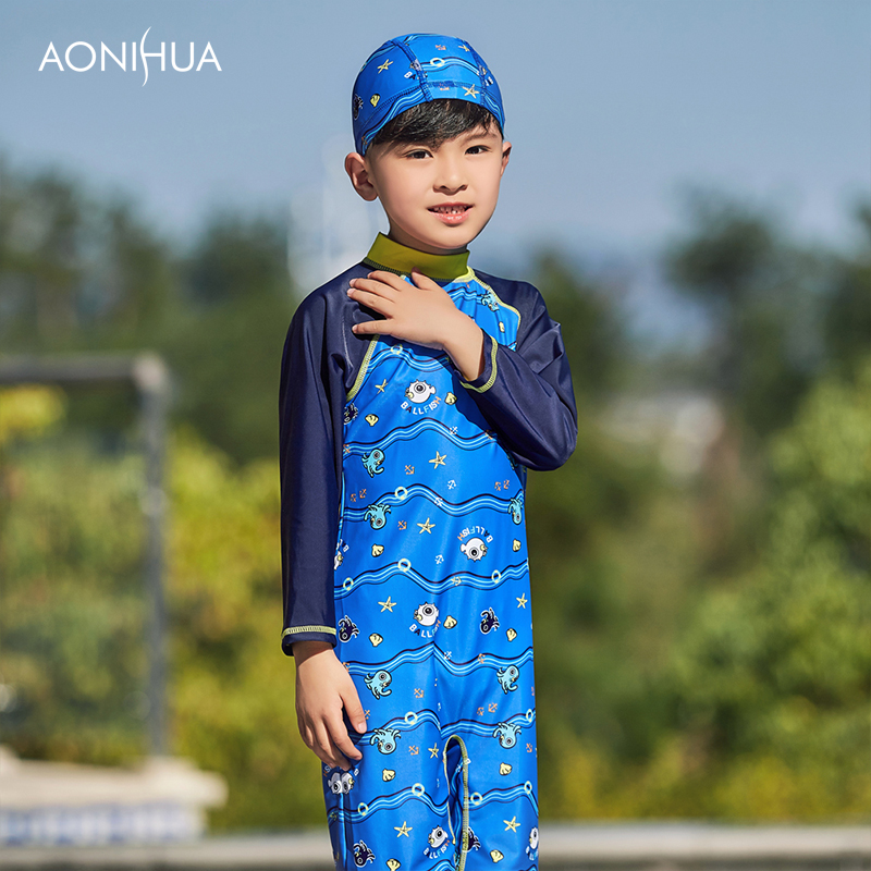 AONIHUA Kids Boys One piece Long Sleeve Swimsuit Bathing Suit for Children 39 s Clothing Rash Guards Surf Clothes 1054 in Children 39 s One Piece Suits from Sports amp Entertainment