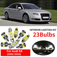 23x White Interior LED Light Bulbs Canbus Kit For 2002 2010 Audi A8 D3 Accessories Map Door Glove Box License plate light Lamp