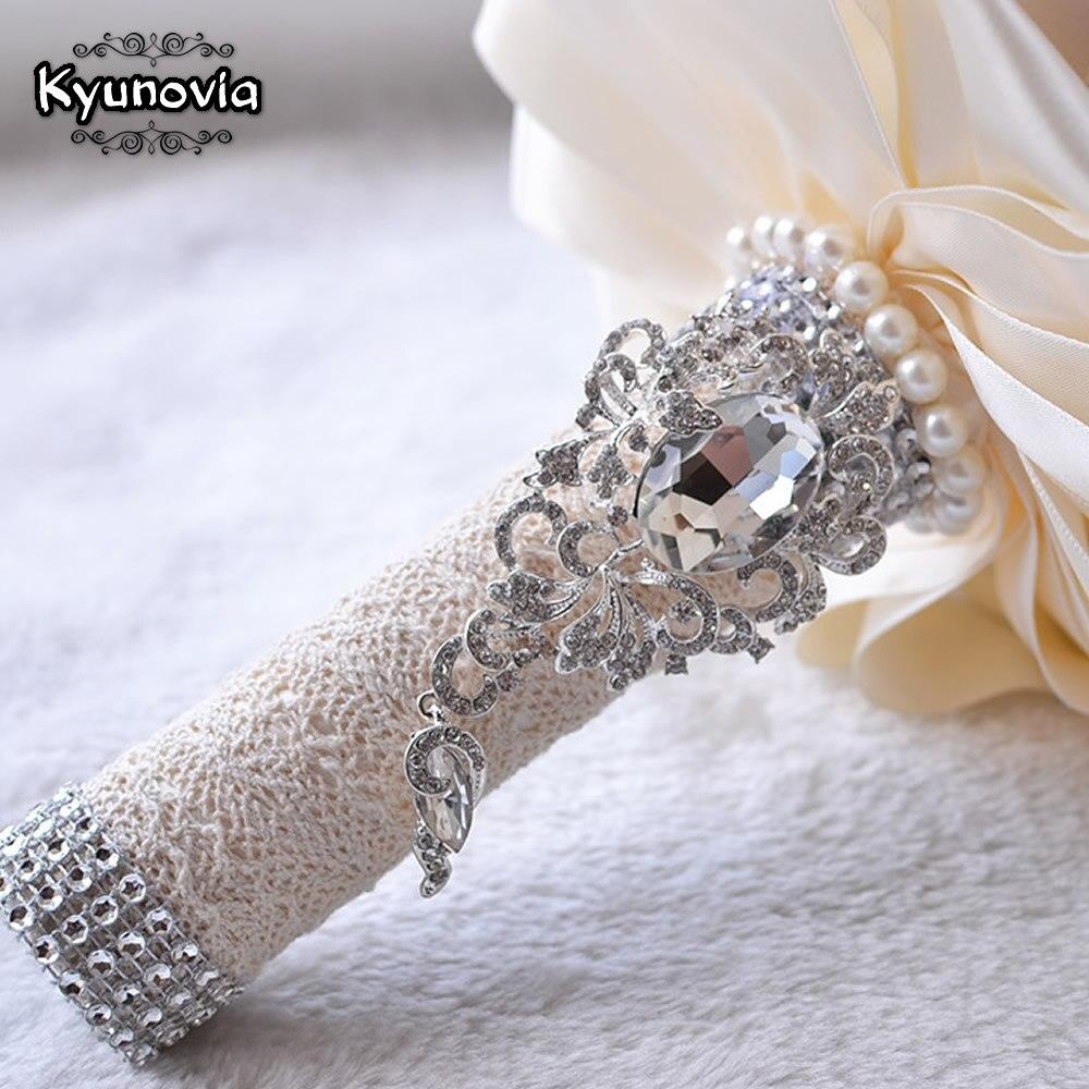 Kyunovia Beste Preis Weiss Elfenbein Brosche Blumenstrauss Hochzeits