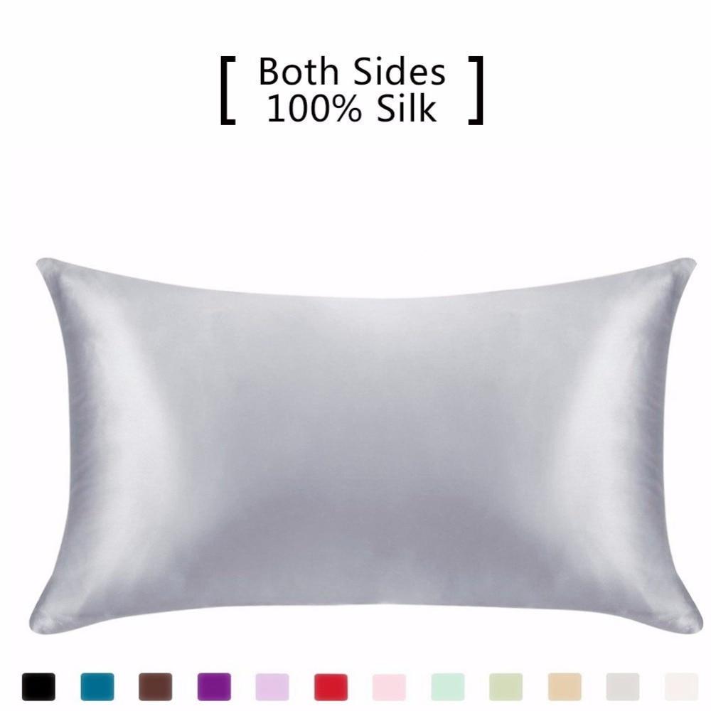 Funda de almohada de seda piel de pelo, 19 100% de Momme pura seda natural de mora funda de almohada tamaño estándar, fundas para almohada Hidd