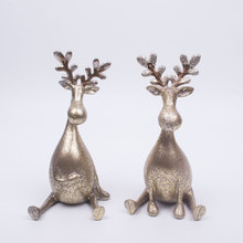 DH cadeau De Noël rennes de résine figurine de noël décoration vintage art artisanat séance cerfs ornement décoration de la maison accessoires(China (Mainland))