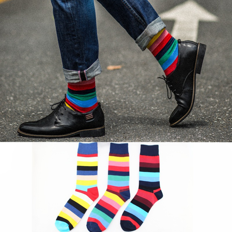 5 pair/lot Mens Funny Art Socks Men Socks stripe dot Tube geometric Crew Sock Cotton british style casual harajuku Happy Socks