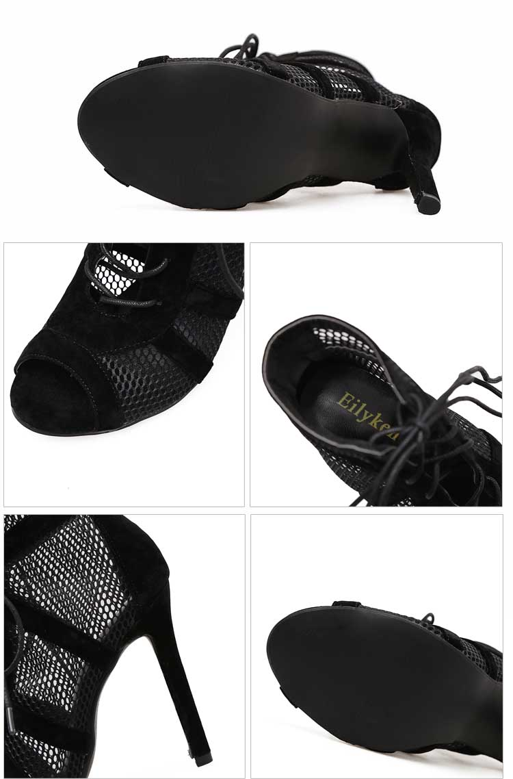 Eilyken 2021 Fashion Black Summer Sandals Lace Up Cross-tied Peep Toe High Heel Ankle Strap Net Surface Hollow Out Sandals