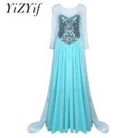 YiZYiF Women Cosplay Dress Long Sleeves Elegent Princess Mermaid Sweetheart Sparkly Halloween Cosplay Costume Dress Outer Yarn