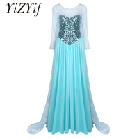 YiZYiF Women Cosplay Dress Long Sleeves Elegent Princess Mermaid Sweetheart Sparkly Halloween Cosplay Costume Dress Outer Yarn