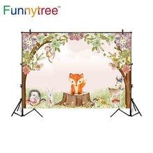 Funnytree backdrop photographic children forest animal party fox rabbit monkey tree stump mushroom photo fotografia background