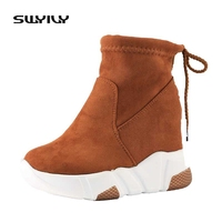 SWYIVY Women Ankle Snow Boots Winter Wedge Women Sneaker Platform Ankle Boots Women Lace Up Female