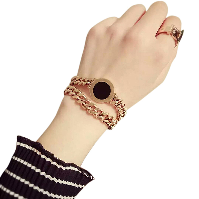 Women's Top Brand Jewelry Rose Gold Roman Numerals Bracelet 316L Stainless Steel Fashion Woman Man Gift Not Fade