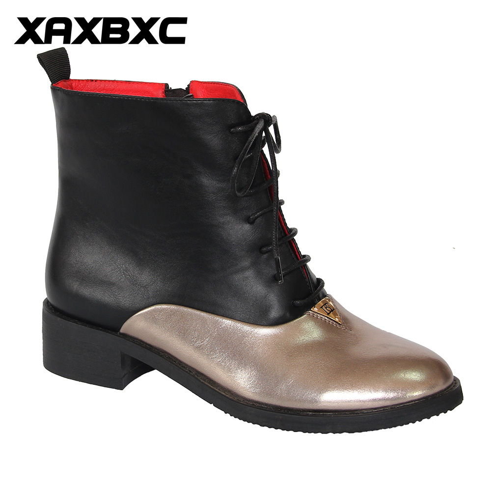 XAXBXC 2017 Retro British Winter PU Leather Stitching Lace-Up Short Ankle Boots Warm Women Boots Handmade Casual Lady Shoes владимир козлов каникулы рассказ