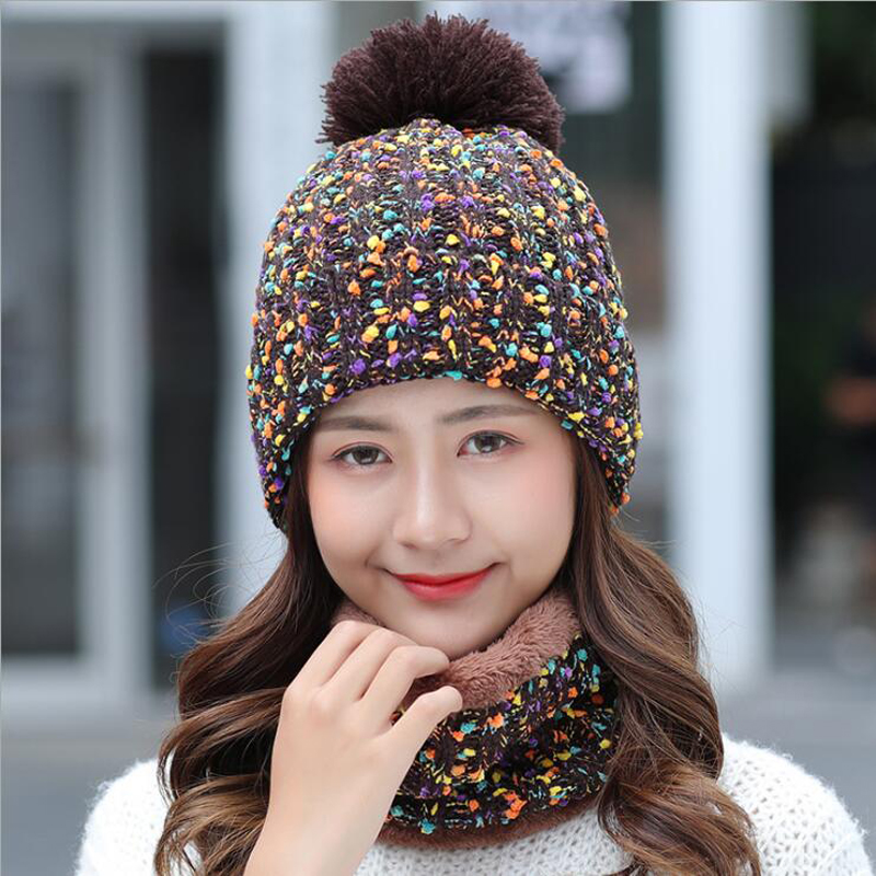 2018 Winter Knitted Hat Women Scarf Caps Mask Gorras Bonnet Warm Winter Hats For Girls   Skullies     Beanies