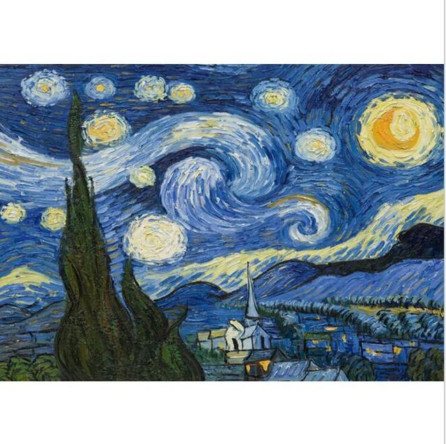 Van Gogh S The Starry Night Picture Paint On Canvas Diy Digital Oil Painting By Numbers Home Decoration Craft Famous