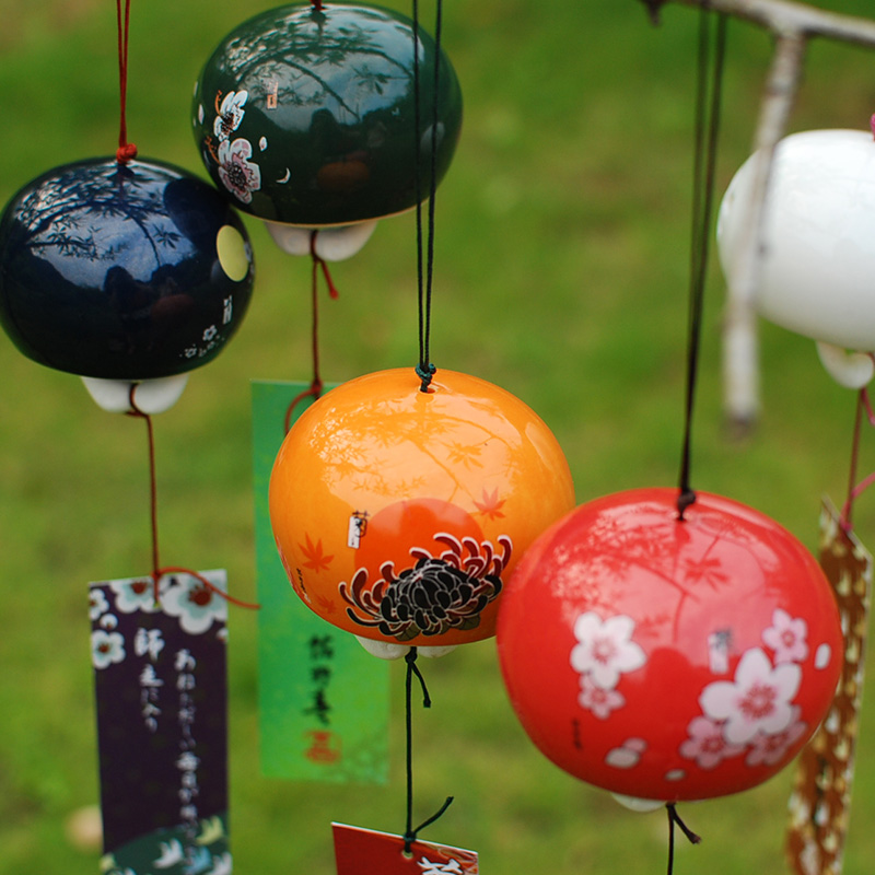 Ceramic Japanese Wind chimes Lucky bells hanging decorations birthday presents wind bells(China)