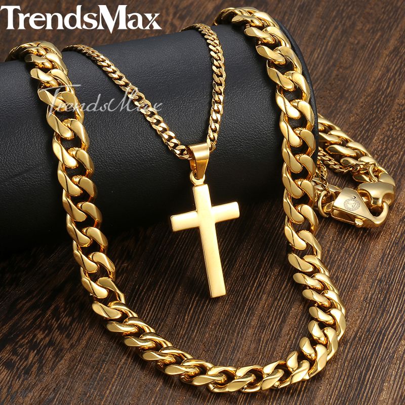 New Men's Hip Hop Necklace Gold Stainless Steel Curb Cuban Link Chain Cross Pendant Necklace for Men Jewelry 11mm 24inch DN05 fashion rhinestone hollow out tortile cross shape pendant necklace for men