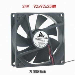 Image 2 - DC12V 24 V 48 V 2pin 9225 9 cm 90mm 92*92*25 double roulement à billes silencieux ventilateur de refroidissement sans brosse