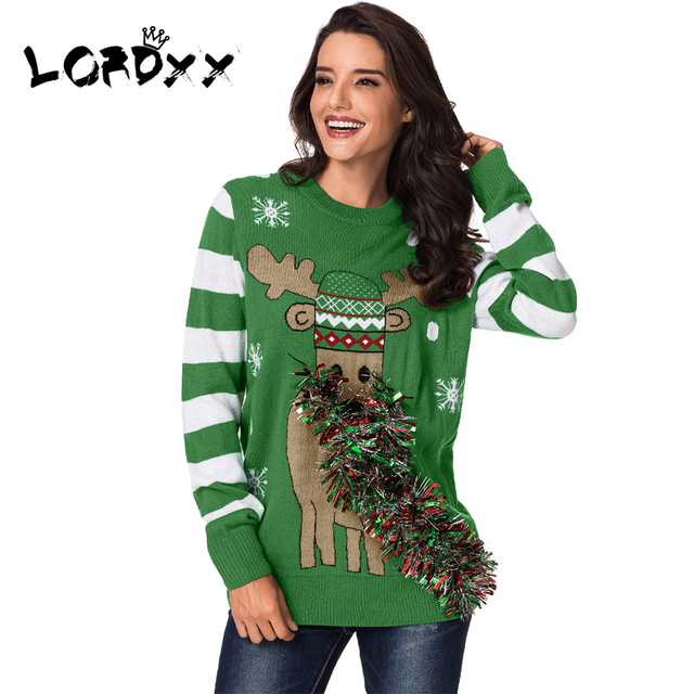 Us 28 5 Lordxx Winter Ugly Christmas Sweater Women Green Festive Reindeer Holiday Sweaters Woman Knitting Pullovers Jumper Ladies In Pullovers From