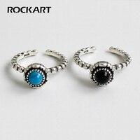 ROCKART Genuine 925 Sterling Silver Retro Black Agate Turquoise Beaded Fringes Open Ring For Women Adjustable