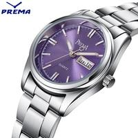 PREMA Women Quartz Wristwatch 2017 New Round Blue Dial Top Brand luxury Waterproof Full Stainless Steel Band Ladies Dress Watch