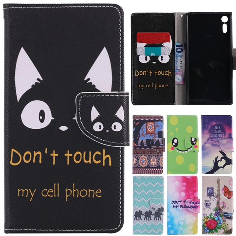 XZ Luxury Cute Cartoon Cat Ears Leather Flip Fundas Case For Coque Sony Xperia XZ Dual F8331 F8332 5.2