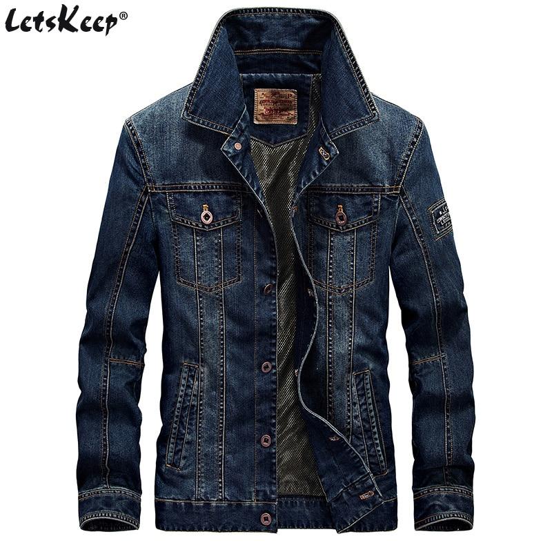 2018 LetsKeep Retro Denim jacket men Spring Turn-Down Collar jacket men's classic outwear jean jackets coat plus size, MA403