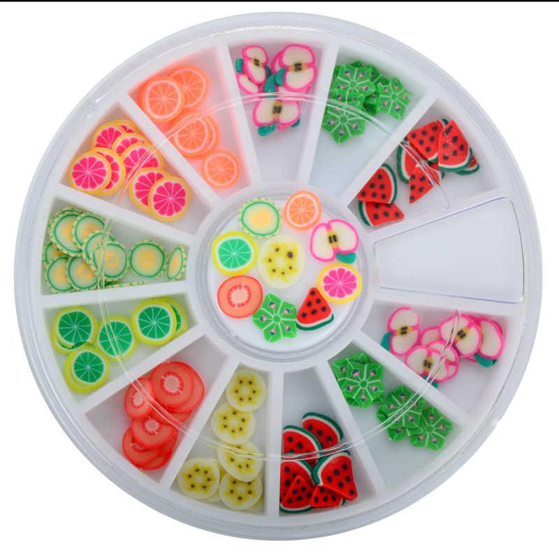 12異なる種類の3dフルーツとフラワー杖ポリマークレイネイルアート装飾刈り取らロールスロイススタンプデカール先端かわいいプリンタdiy
