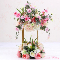 2PCS/lot Simple Style Flower Pillar Gold Metal Flower Stand Beautiful Shape Frame for Wedding Party Event Decoration 31.4'' tall