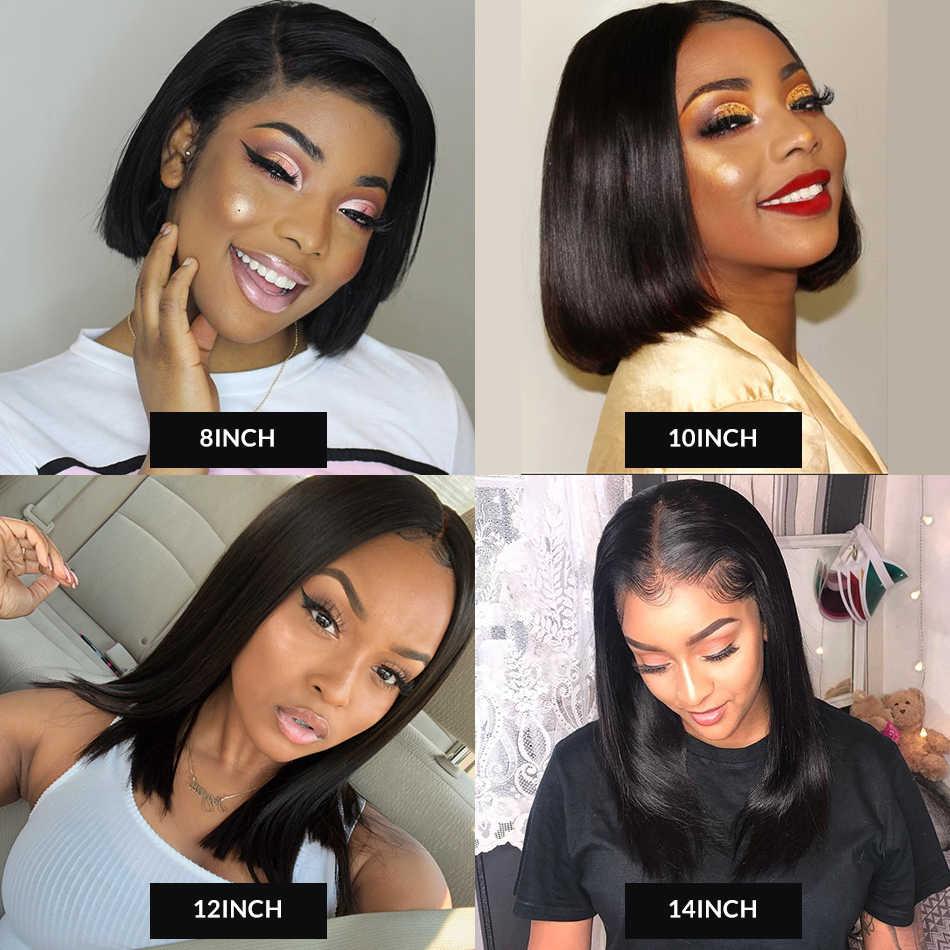 "Recto 13x6 pelucas de pelo humano frontal de encaje Pre desplumado para mujeres negras brasileño Remy transparente de encaje 613 Rubio pelucas Bob 6 ""-16"""