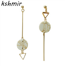 Original design Marble geometric asymmetric triangle round long earrings delicate Female temperament earring