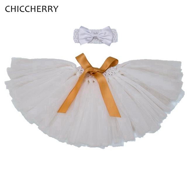 Blanco y Rosado de La Boda Falda Del Bebé Recién Nacido Del Cordón Falda Set con Diadema Arco Fiesta Vestidos Infantil Niñas Ropa