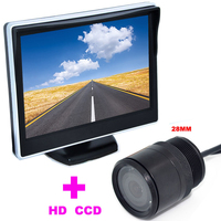 28mm Car Rearview Camera backup camera HD 170 Angle+2 in 1 Auto Parking Assistance System 5 TFT LCD Car mirror monitor