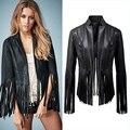 Мода женщины элегантный черный бахрома кисточкой пу искусственной кожи пальто куртки старинные верхней одежды свободного покроя бренд Jaqueta Feminina Casacos