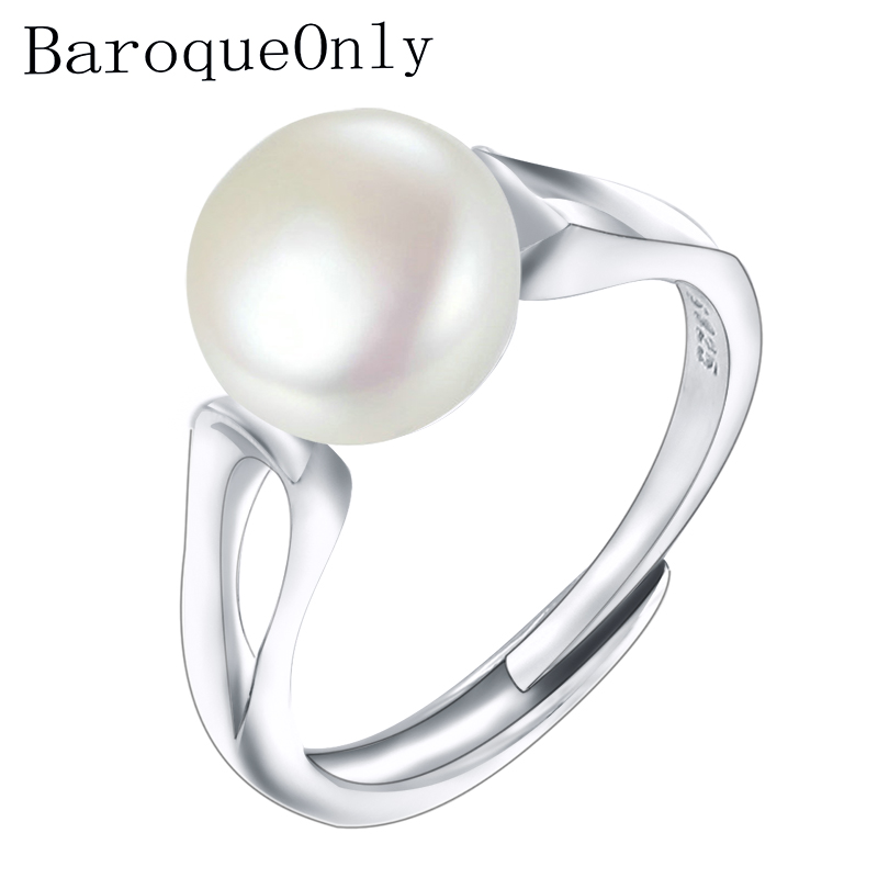 BaroqueOnly 2018Fashion Pearl Ring Jewelry of Silver Oval Natural Freshwater Pearl Rings 925 Sterling Silver Rings for WomenGift цена