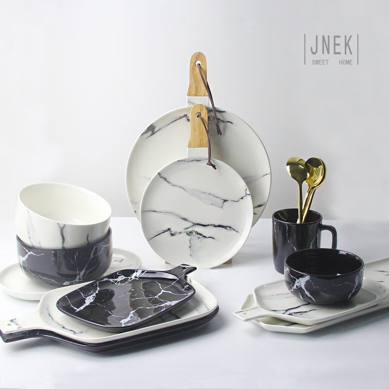 Creative Design European Style Marble Pattern Ceramic Tableware Porcelain Plate Dish Pla ...