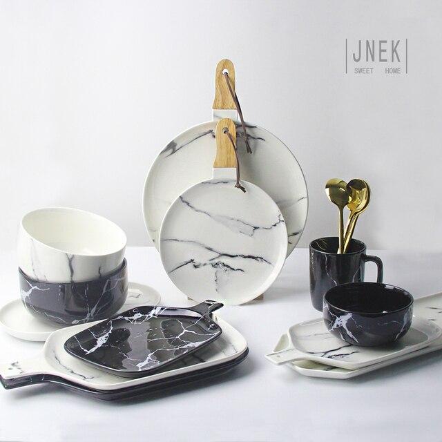 Kreatives Design Europäischen Stil Marmor Muster Keramik Geschirr Porzellan  Teller Platte Kutter Bord Geschirr Set