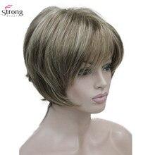 StrongBeauty peluca sintética para mujer, postizo liso, corto, color marrón ceniza, Rubio resaltado, pelo negro