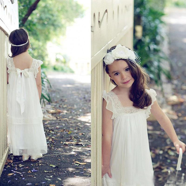 887c271b7 Honey Qiao 2017 New Vintage Lace Boho Flower Girls Dresses Floor Length A  Line Cheap Ivory Communion Gowns for Beach Garden