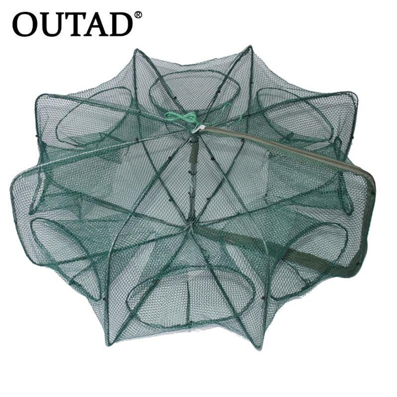 Folded Hexagon Octagon 6/8/12 Holes Fishing Shrimp Automatic Trap Fishing Net Fish Shrimp Minnow Crab Baits Cast Mesh Trap 2018