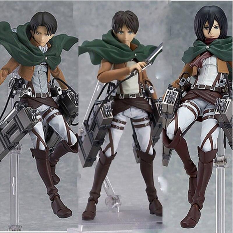 Anime attaque sur Titan figurines Eren Mikasa Ackerman Levi Rivaille Figma 203 207 213 poupées PVC figurine jouet collectif