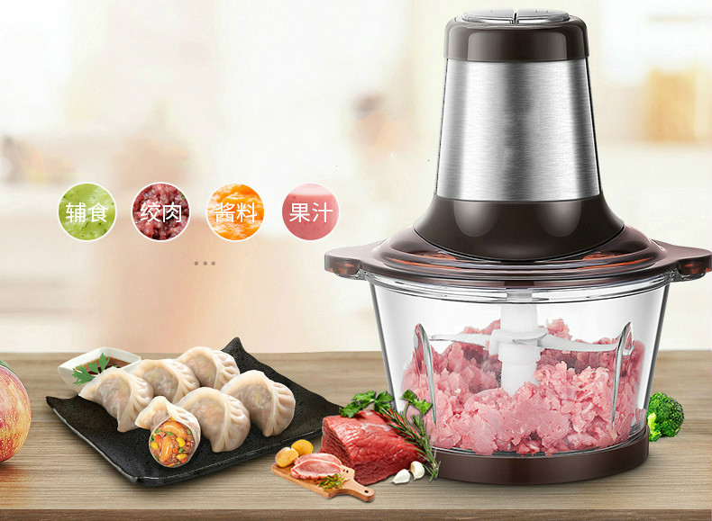 Meat Grinders USES an electric stainless steel grinder to chop up minced and stir-fried cabbage with capsicum garlic NEW meat grinders grinder uses an electric stainless steel to churn the minced dumplings new