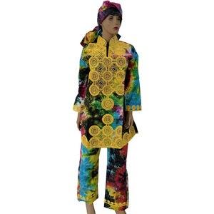 Image 3 - Md africano feminino camisa calças terno áfrica do sul senhoras topos calças conjuntos com cachecol bordado tradicional dashiki roupas