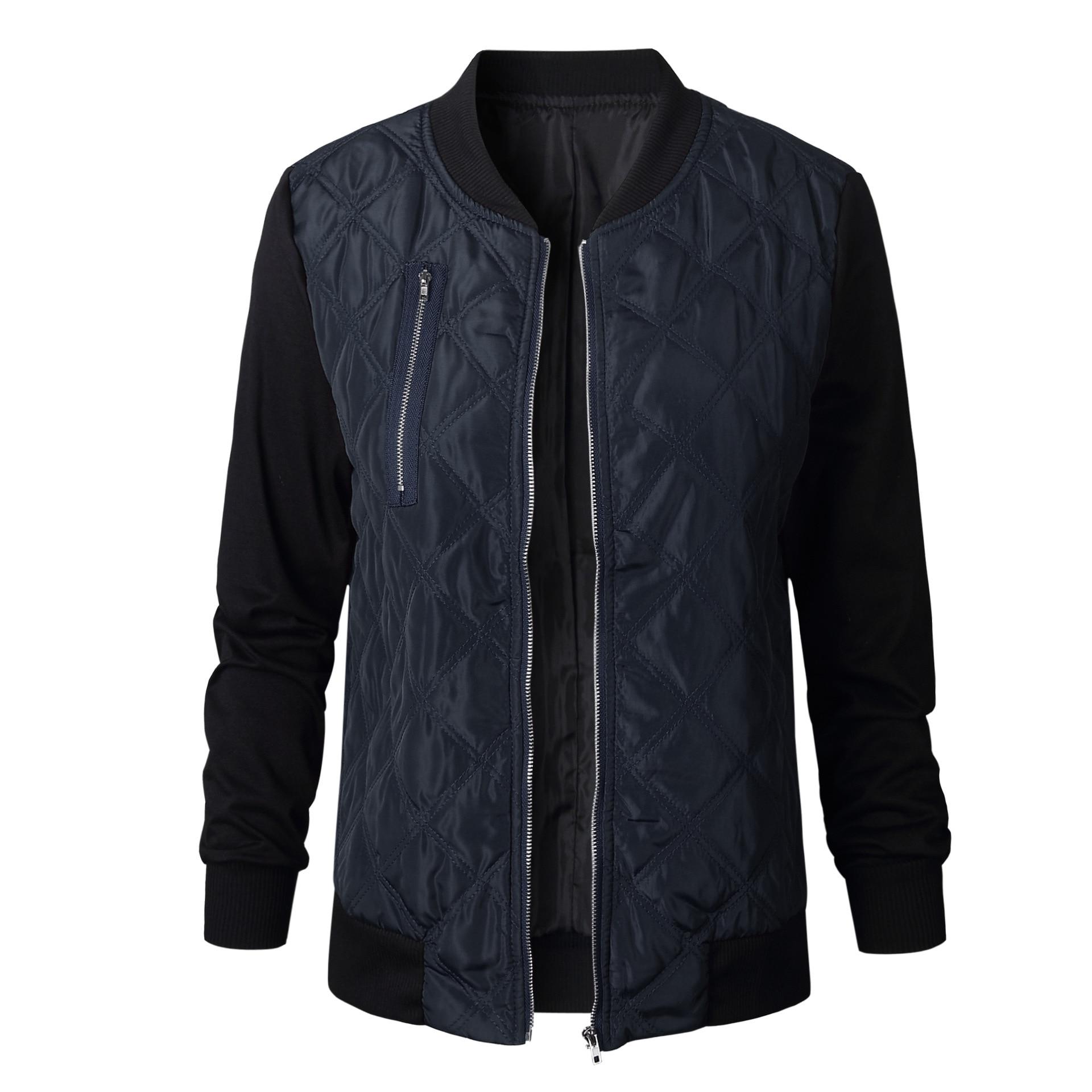 HTB1F3r.w98YBeNkSnb4q6yevFXaw Plus Size Autumn Winter Fashion Slim Women's Jacket Zipper Cardigan Splice Bomber Jackets 2019 Long Sleeve Bodycon Coats Female